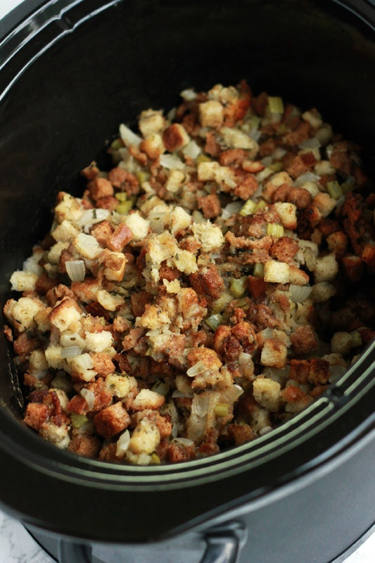 close up shot of stuffing in crock pot