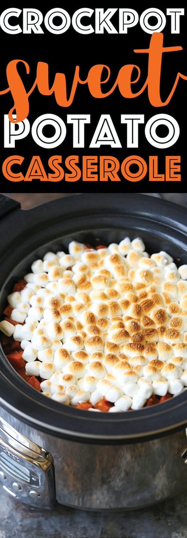 crockpot fullf of sweet potato chunks covered in slightly toasted mini marshmallows