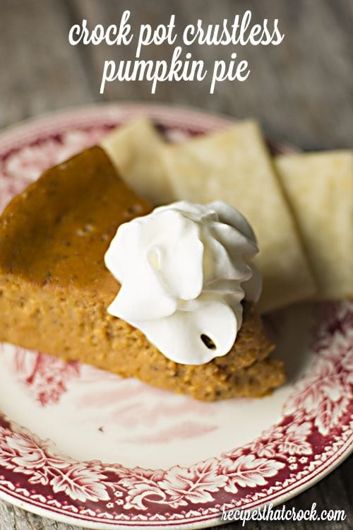crustless pumkin pie with whipped cream on top