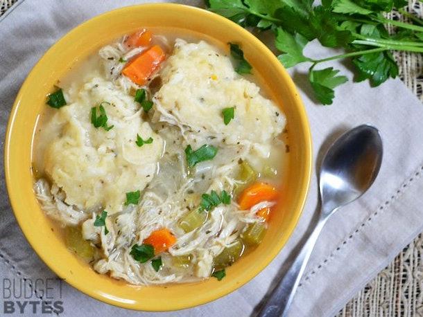 chicken dumplings a bowl of soup