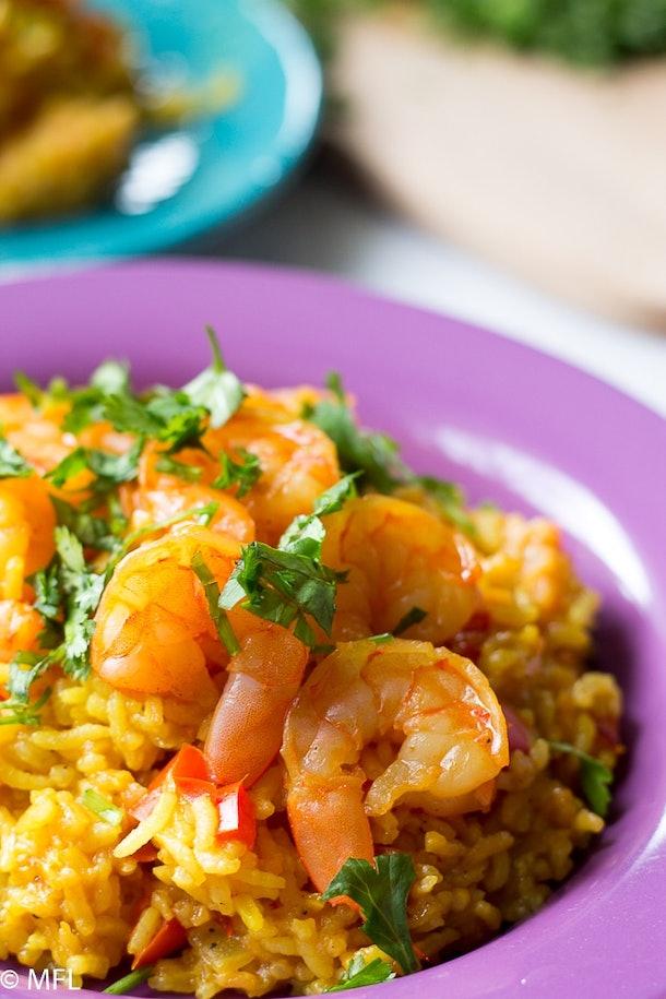 shrimp paella in a bowl