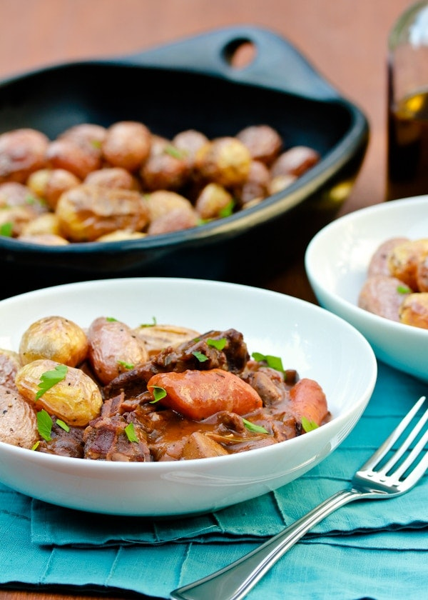 venison and whole mini potatoes in a stew in bowl