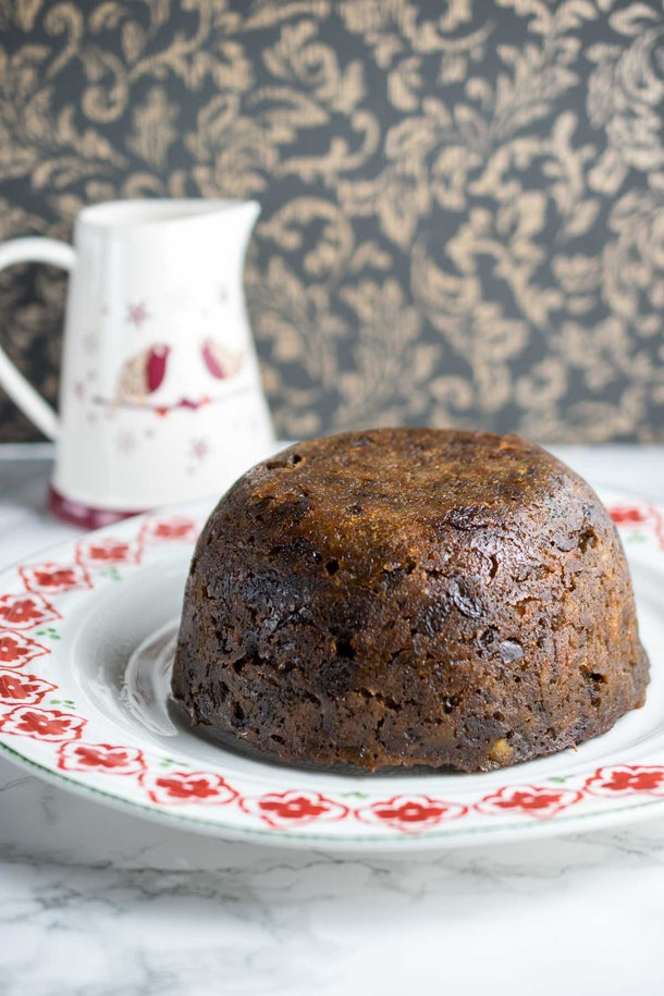 christmas pudding on plate