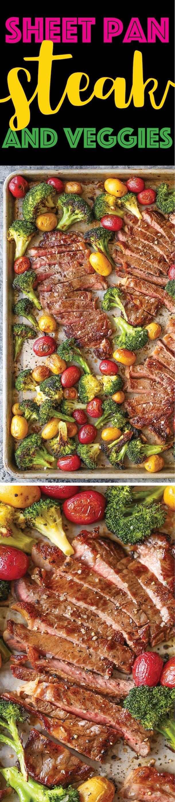 sheet pan recipes with steak, sheet pan steak and veggies