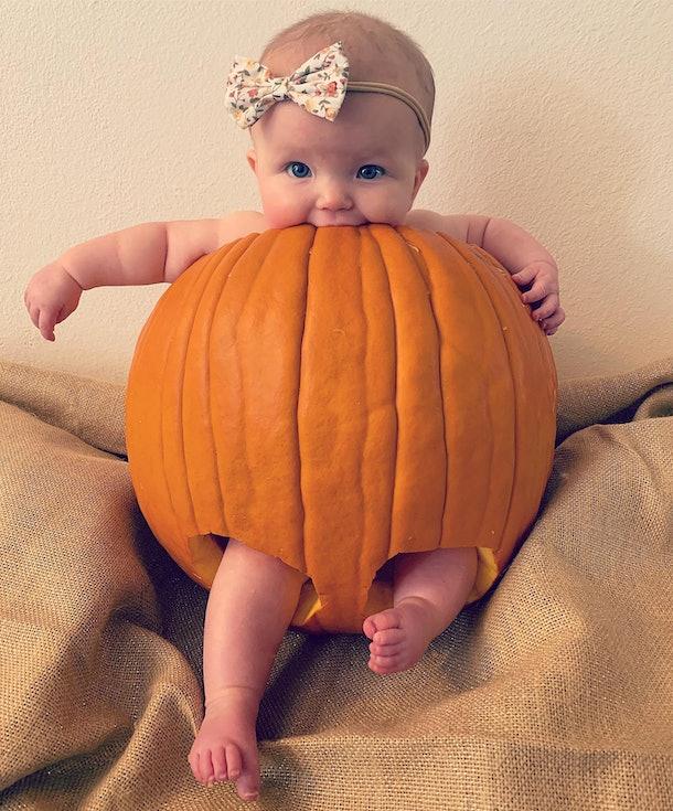 pics of babies dressed as pumpkins, baby in a pumpkin