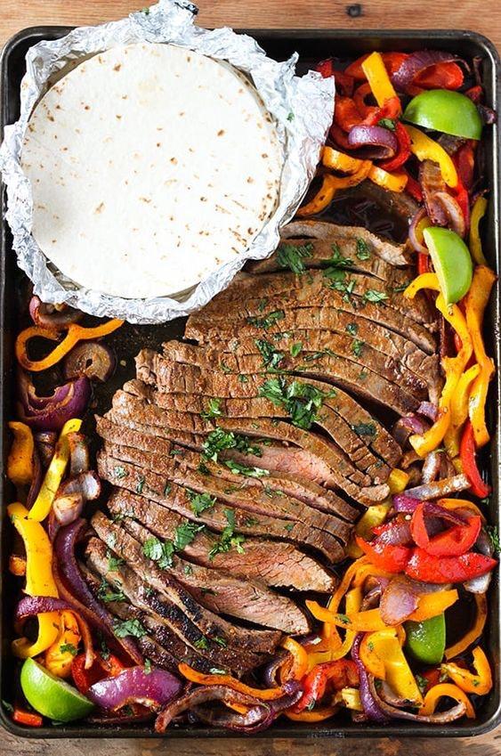 sheet pan recipes with steak, sheet pan steak fajitas