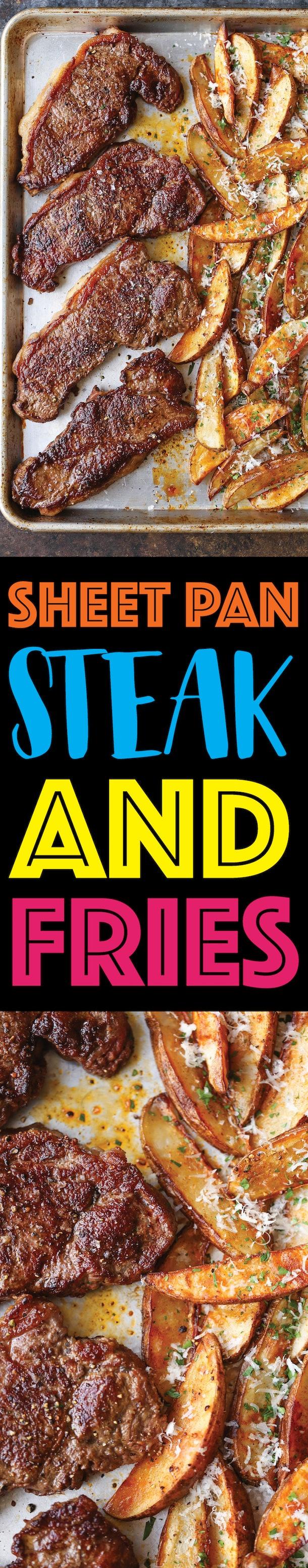 sheet pan recipes with steak, sheet pan steak and fries