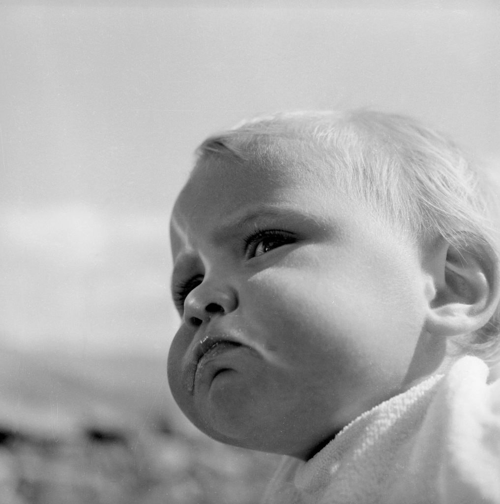 A chubby-cheeked toddler gazes out over a valley.