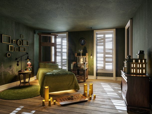 A look at Wednesday's bedroom inside of the Addam's Family home.