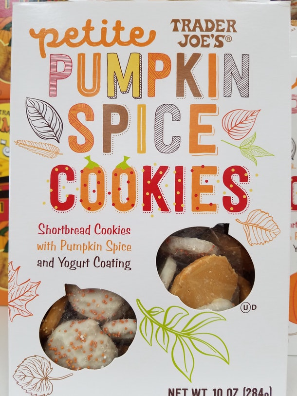 For autumn, Trader Joe's presents these mini-shortbread cookies flavored with pumpkin spice.