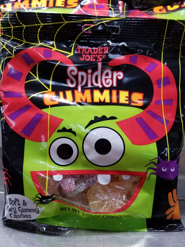 Trader Joe's Spider Gummies are chewy, slightly sour, and not a bit scary.