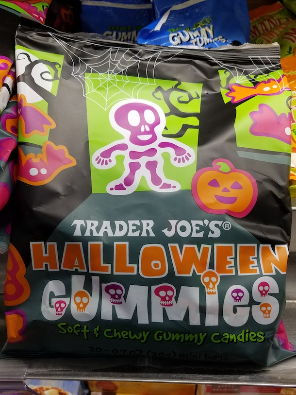 Trader Joe's offers mini-pouches of Halloween gummy candy to give to trick-or-treaters.