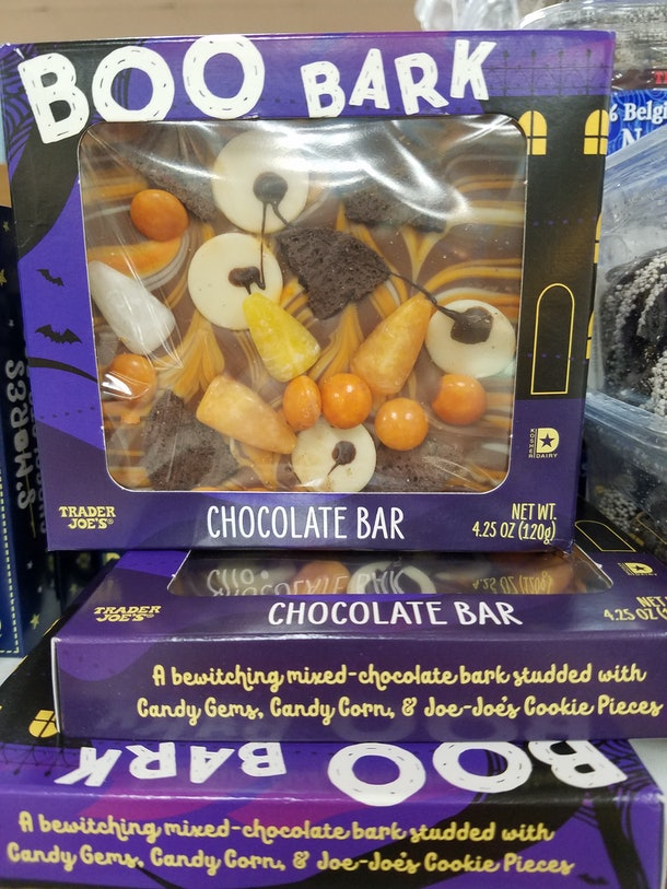 Trader Joe's Boo Bark is a fun Halloween candy with a variety of toppings.