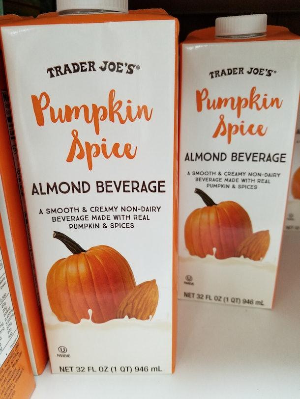 Trader Joe's almond milk comes in a pumpkin spice version for Halloween.