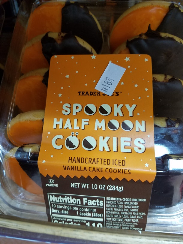 Trader Joe's Spooky Half Moon Cookies are a Halloween version of black-and-white cookies.