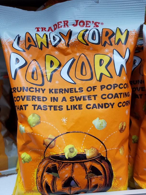 Trader Joe's candy-corn-flavored popcorn combines two favorite seasonal flavors.
