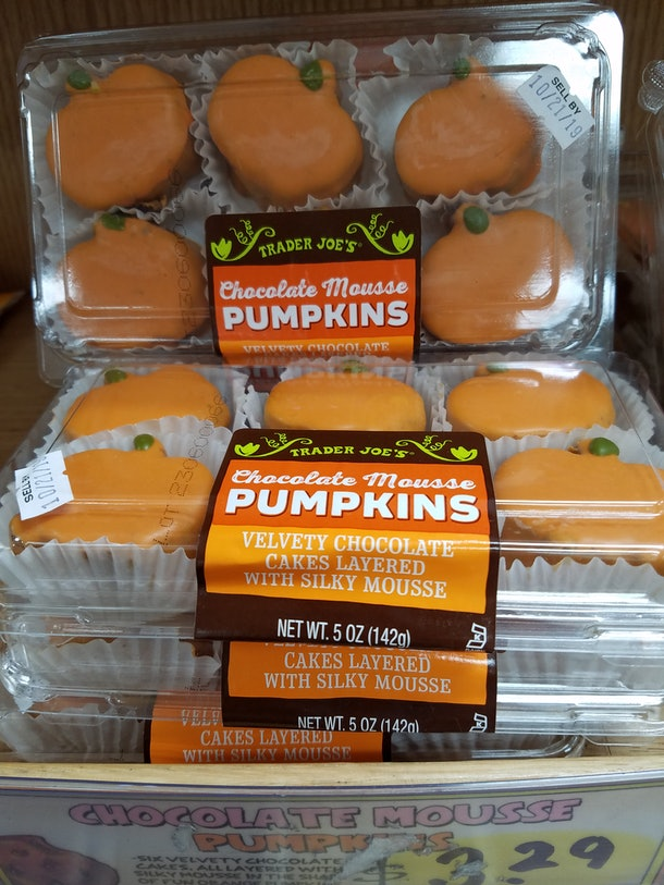Trader Joe's Halloween pumpkin cakes are layered with rich mousse.