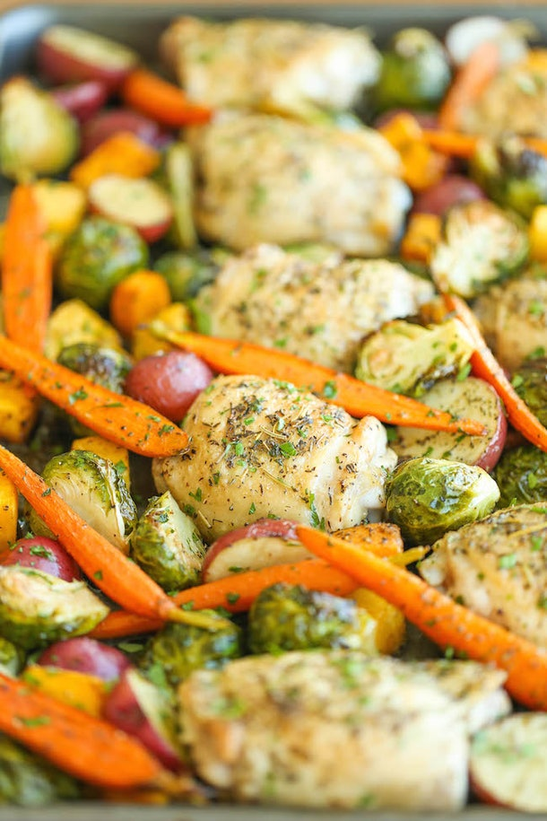 sheet pan recipes with chicken thighs, one pan roasted chicken with fall vegetables
