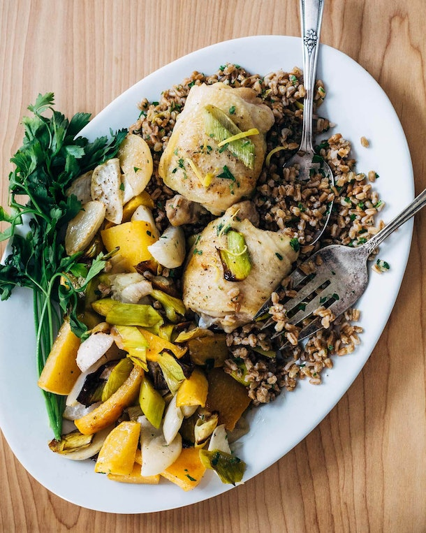 sheet pan recipes with chicken thighs, sheet pan roasted chicken and vegetables over farro