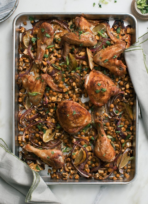 sheet pan recipes with chicken thighs, sheet pan harissa chicken with chickpeas and eggplant