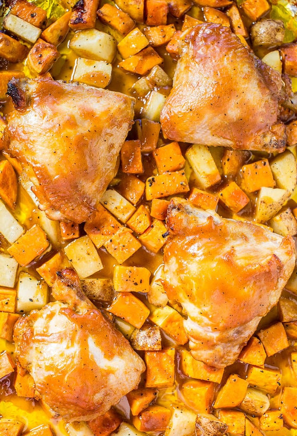 sheet pan recipes with chicken thighs, one pan barbecue chicken and roasted sweet potatoes