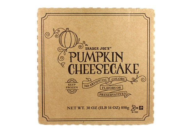 A picture of the pumpkin cheesecake package from Trader Joe's.