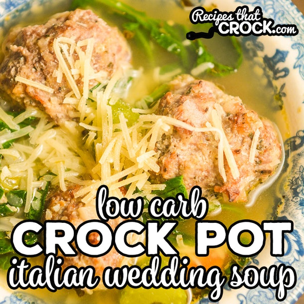 close up of slow cooker italian wedding soup