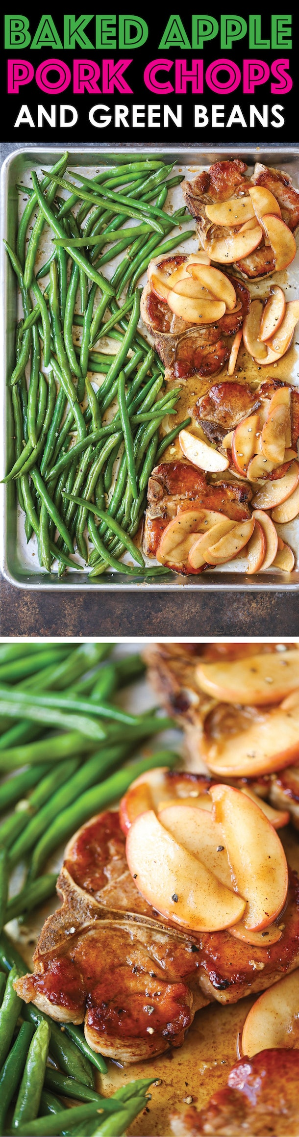 sheet pan recipes with pork, Baked Apple Pork Chops And Green Beans