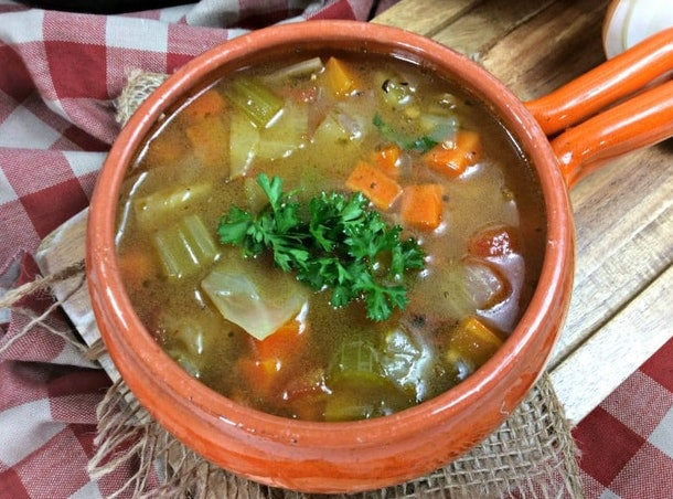 The Instant Pot Cabbage Soup recipe from Princess Pinky Girl is a quick, simple meal loaded with vegetables