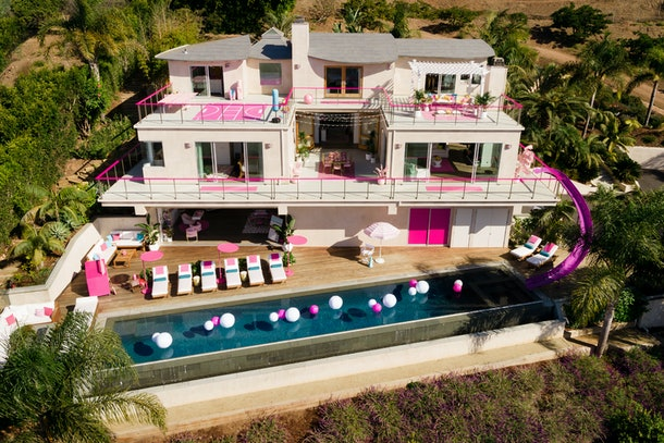 Exterior shot of Barbie Malibu Dreamhouse during the day