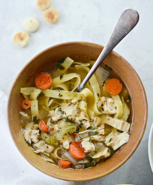 The Leftover Turkey Noodle Soup recipe from Simply Scratch is a great way to reuse Thanksgiving leftovers