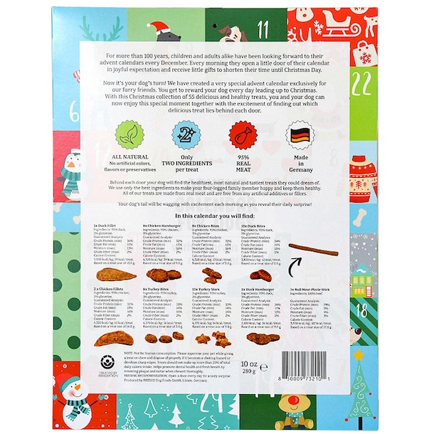 List of ingredients from Sam's Club's Advent Calendar For Dogs