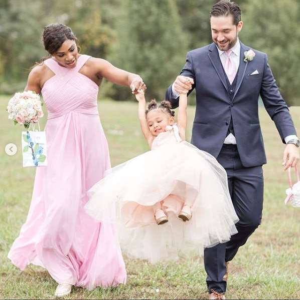Serena Williams at a friend's wedding with daughter Olympia and husband Alexis Ohanian