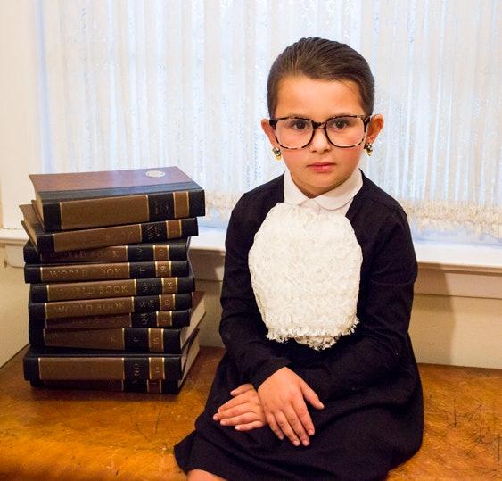 kid in homemade ruth bader ginsburg halloween costume