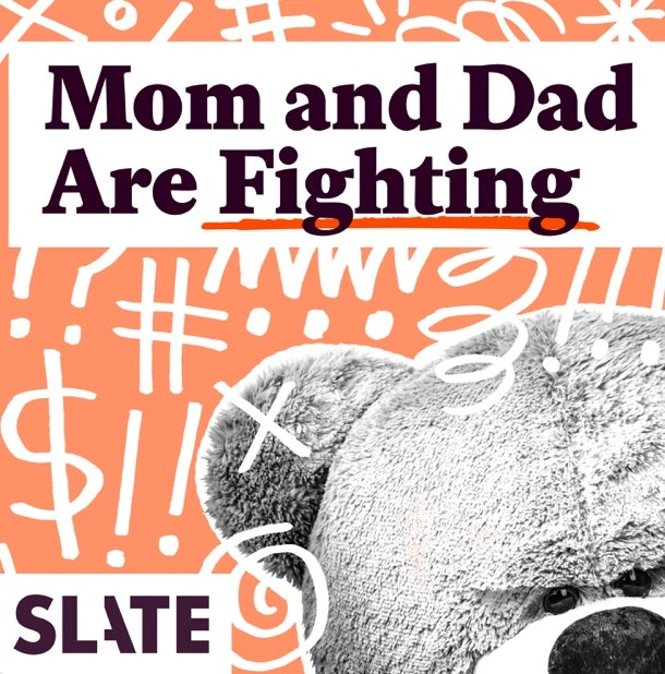 "The words ""Mom and Dad Are Fighting"" sit on a graphic with a teddy bear and drawn expletive symbols."