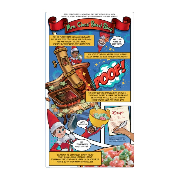 Elf On The Shelf cereal, back of box, comic strip