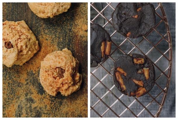 Three cinnamon cookies on left, and three chocolate cookies on right.