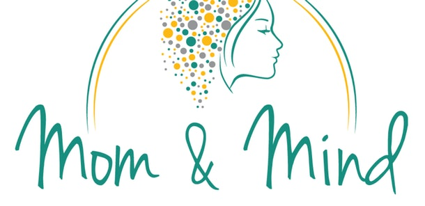 Graphic image of a silhouette of a woman with the title Mom & Mind underneath it.