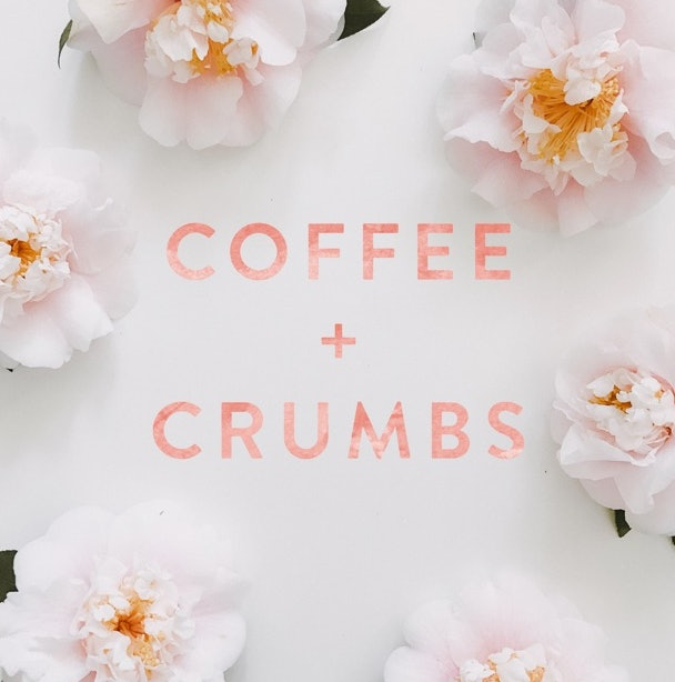 Pink flowers against a white background with the words Coffee + Crumbs