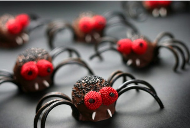 Spider bites made from chocolate brownies make delicious Halloween snacks for the classroom.