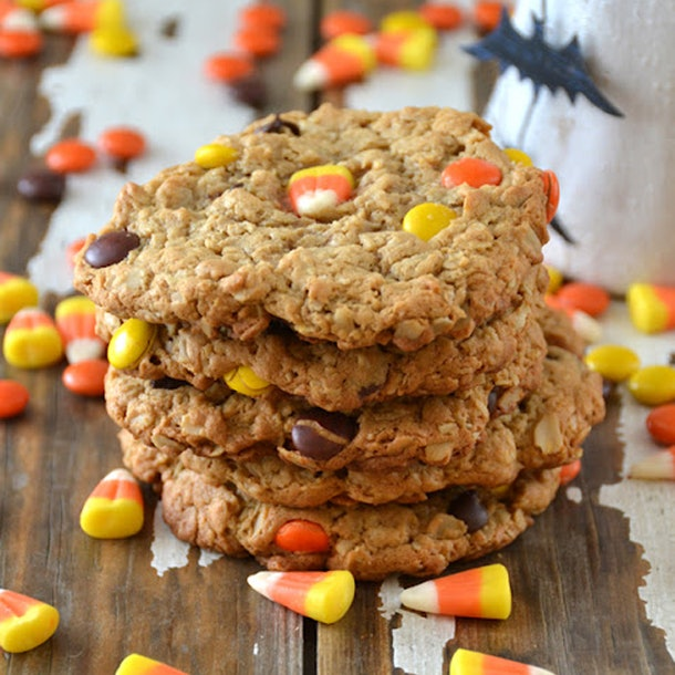 Monster cookies are a classic cookie perfect as a Halloween snack for the classroom.