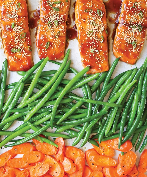 Sheet pan teriyaki salmon dinner from Damn Delicious is a fast and tasty dinner with minimal clean-up