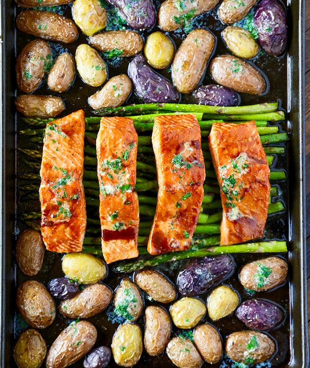 Sheet Pan Salmon Dinner recipe from No. 2 Pencil is a one-pan meal that makes for easy clean-up