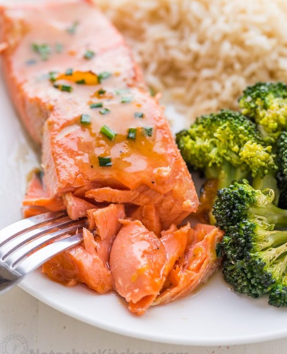 Apricot Dijon Salmon and broccoli recipe from Natasha's kitchen has a range of sweet and savory flavors