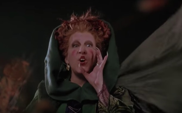 Winnifred Sanderson, played by Bette Middler, calling her magical spell book in the 1993 film 'Hocus Pocus'.