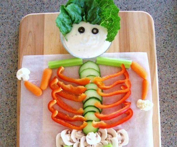 Veggie Skeleton Healthy Halloween party food recipe