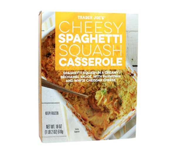 A picture of cheesy squash casserole from Trader Joe's.