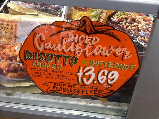 A snapshot of the grocery store section featuring riced cauliflower squash risotto.