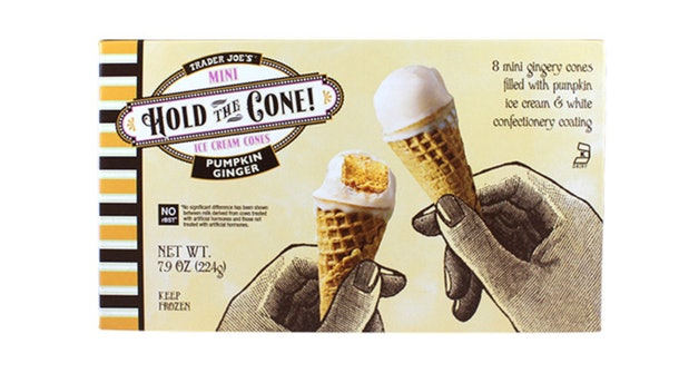 A picture of mini ice cream cones from Trader Joe's.