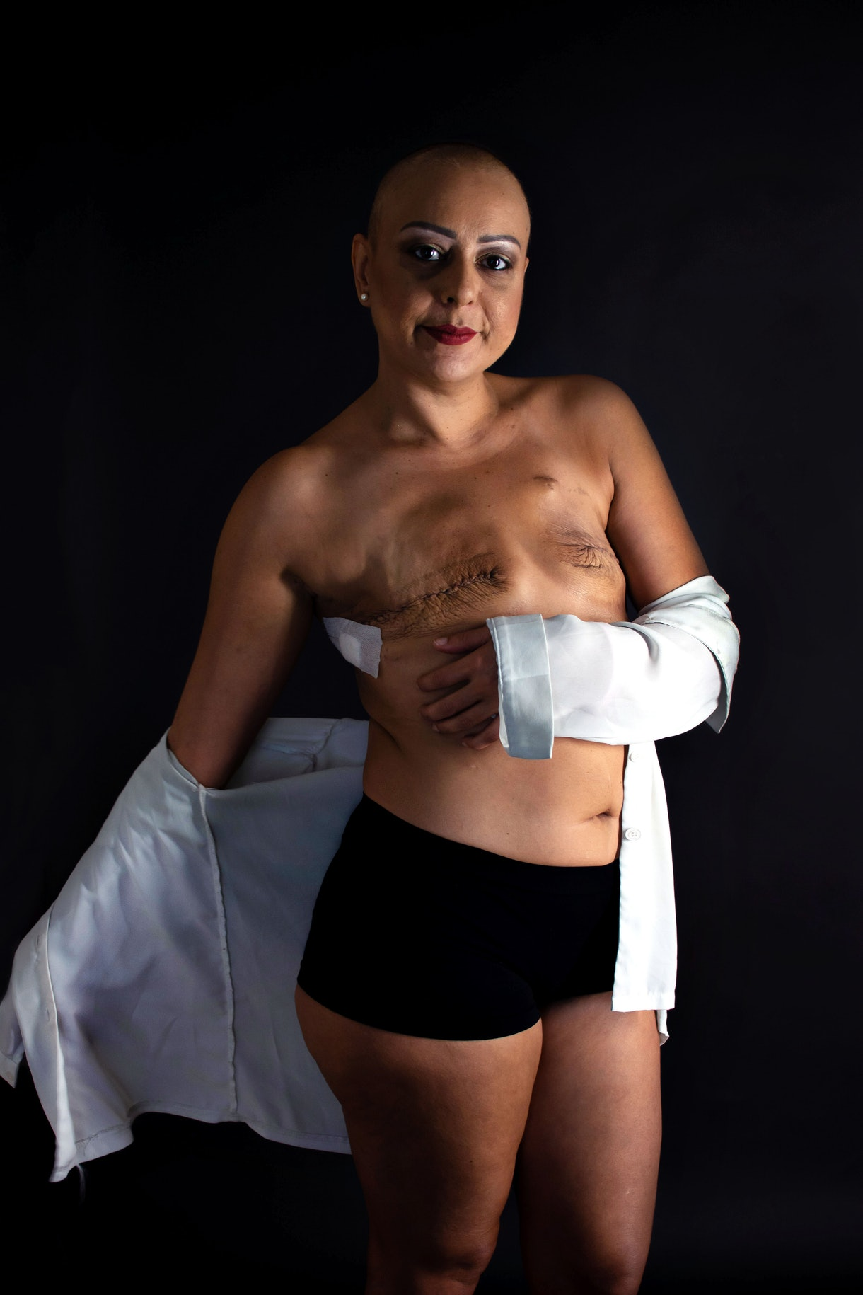 breast cancer awareness month confident asian woman double mastectomy scars